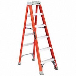 Stepladder, Fiberglass, 6 ft. H, 300 lb Cap