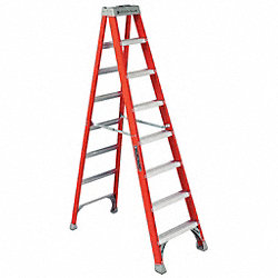 Stepladder, Fiberglass, 8 ft. H, 300 lb Cap