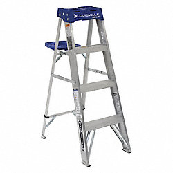 Stepladder, Aluminum, 4 ft. H, 250 lb. Cap.