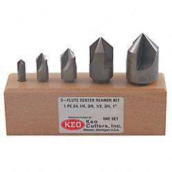 Center Reamer Set, 5 PC, 3 FL, 82 Deg, HSS
