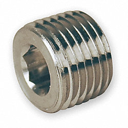 Hollow Hex Plug, Size 1/4 In