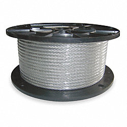 Cable, 1/4 In, L500Ft, WLL1400Lb, 7x19, Steel