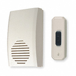 Wireless Door Chime, Plastic, L 5 In