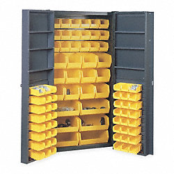 Bin Storage Cabinet, 84 Bins, 6 Shelves