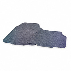 Flr Mat Set, Rubber And Crpt, Gray, L 27 In