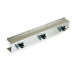 Mop/Broom Rack, White, Stainless Steel