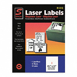 Laser Label, 8 1/2X11In, PK 25, White