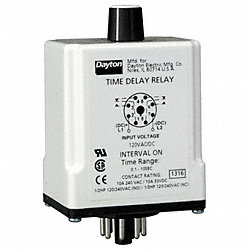 Relay, Time Delay, DPDT, On Delay, 8Pin