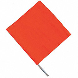Handheld Warning Flag, Orange, 18x18In