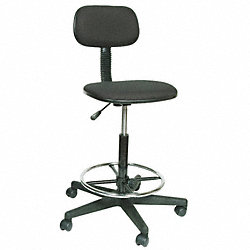 Drafting Stool, 24-34-1/4 In H, Black
