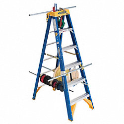 Stepladder, Fiberglass, 6 ft. H, 375 lb Cap