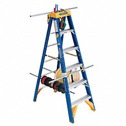 Stepladder, Fiberglass, 12 ft H, 375 lb Cap