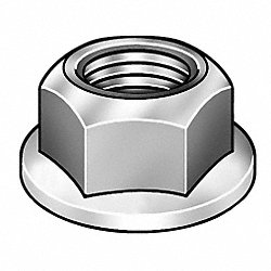 Locknut, Serrated, Steel, 10-24, PK100