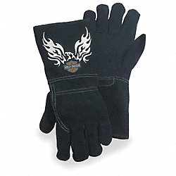 Welding Gloves, L, Black, 6 In. Gauntlet, PR