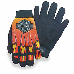 Mechanics Gloves, Blk/Orange/Yellow, L, PR