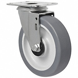 Swivel Plate Caster, 198 lb, 5 In Dia
