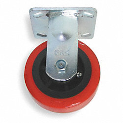 Rigid Plate Cstr w/Brake, 750 lb, 5 In Dia