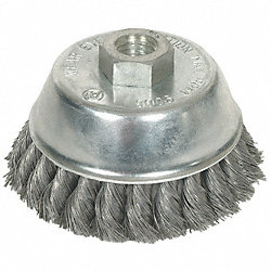 Knot Wire Cup Brush, SS, 4 In D, 5/8-11