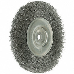 Crimped Wire Wheel, 6 Dia, 0.0118 Wire, SS