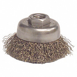 Crimped Cup Brush, 3 Dia, 0.014 Wire, Steel
