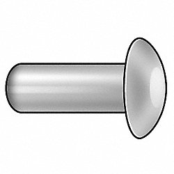 Semi-Tubular Rivet, 1/4x9/16 In, PK 50