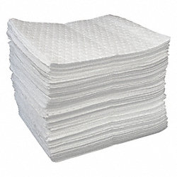 Absorbent Pads, White, 19 In. L, PK 100