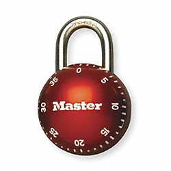Combination Lock, Zinc, 2 1/8 In Thick, Red