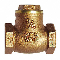Swing Check Valve, 1-1/2 In, FNPT, Brass