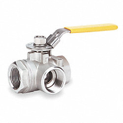 Ball Valve, Three Way, 1/2 In FNPT, Cast SS