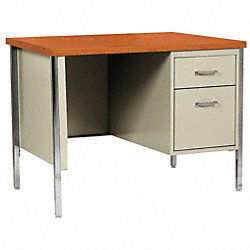Desk, Single Pedestal, Putty/Teak