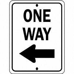 Traffic Sign, 24 x 18In, BK/WHT, OW, R6-2L