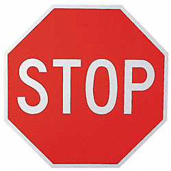 Traffic Sign, 24 x 24In, WHT/R, Stop, Text