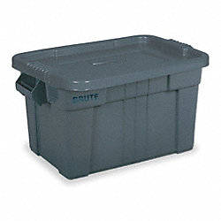 Tote Storage Container, L 27 1/8, Gray