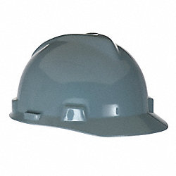 Hard Hat, FrtBrim, Slotted, 4Rtcht, Gray