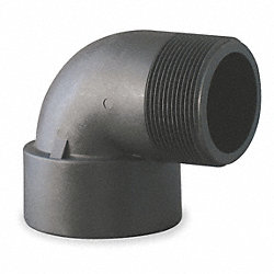Street Elbow, 90 Deg, 2 In, Poly, Blk
