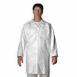 Disp. Lab Coat, 2XL, Tyvek(R), White, PK30