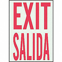 Exit Sign, 14 x 10In, R/WHT, Exit/Salida