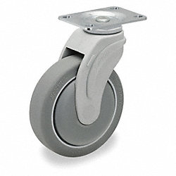 Swivel Plate Caster, 325 lb, 5 In Dia