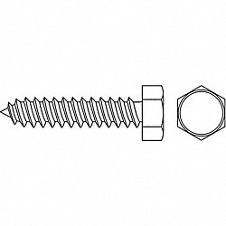 Metal Screw, Hex, #14, 2 In L, PK 1500