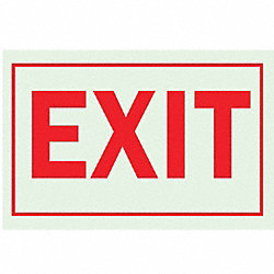 Exit Sign, 10 x 14In, R/WHT, Exit, ENG, Text