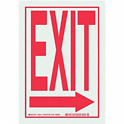 Exit Sign, 10 x 7In, R/WHT, Exit, ENG, SURF