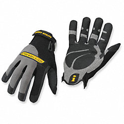 Mechanics Gloves, Black/Gray, 2XL, PR