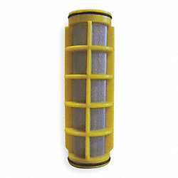 Filter Screen, Yellow, 5 In L, Dia 1 1/4 In
