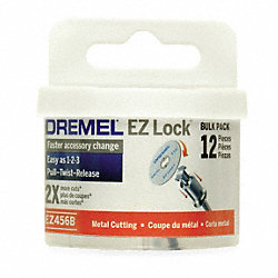 E Z Lock Cut Off Wheel, 1 1/2 In Dia, Pk12