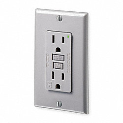 GFCI Receptacle, 15 Amps AC, 5-15R, Gray
