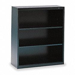 Welded Steel Bookcase, H 40, 2 Shelf, Black