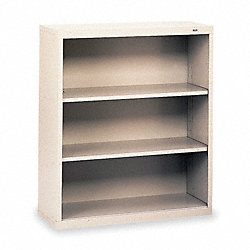 Welded Steel Bookcase, H 40, 2 Shelf, Gray