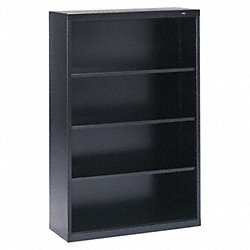 Welded Steel Bookcase, H 52, 3 Shelf, Black