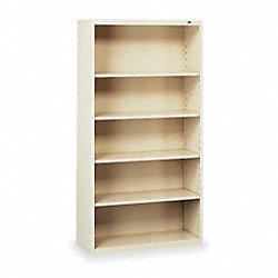 Welded Steel Bookcase, H 66, 4 Shelf, Putty