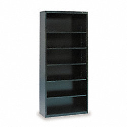 Welded Steel Bookcase, H 78, 6Shelf, Black